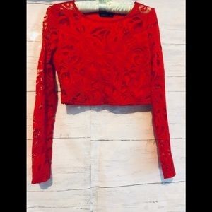 Mango red lace cropped top S
